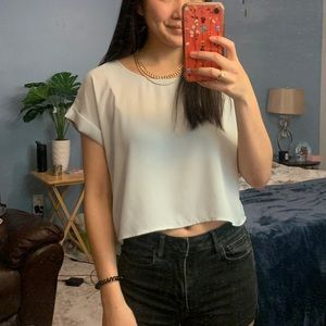 Grey Chiffon Forever 21 Cropped Blouse